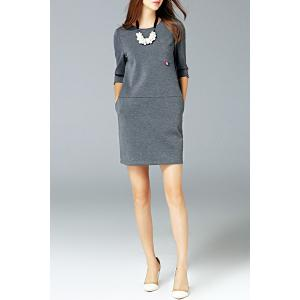 Round Neck Pocket Dress -