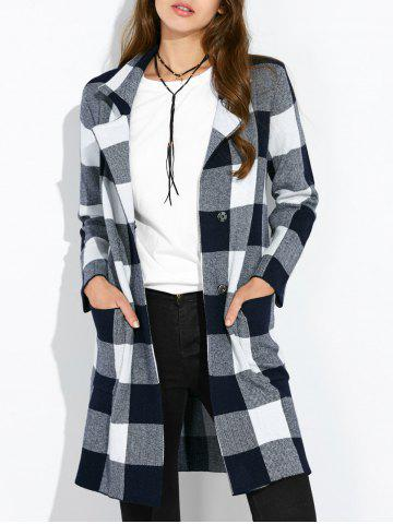 Fancy Pocket Plaid Woolen Coat