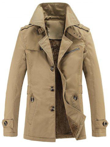 Unique Turn-Down Collar Epaulet Embellished Single-Breasted Fleece Coat EARTHY L