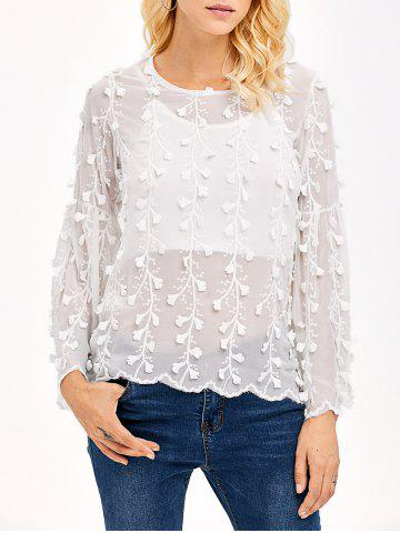 Online Embroidered Chiffon Blouse WHITE XL