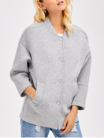 Sale Drop Shoulder Buttoned Pocket Design Coat GRAY XL