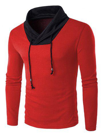 Fashion Shawl Collar Drawstring Long Sleeve Color Block Sweater RED 2XL
