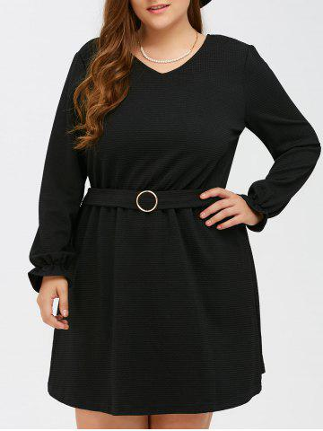Outfit Puff Sleeves Buckle Fit and Flare Dress