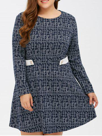 Latest Linellae Print Epaulet Knitted Swing Dress PURPLISH BLUE 5XL