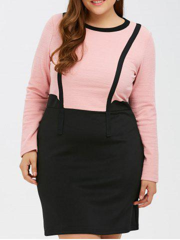 Outfit Color Block Panel Bowknot Bodycon Dress BLACK/PINK 5XL