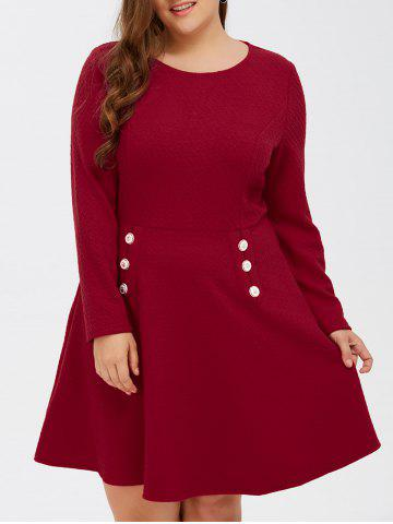 Hot Grid Buttoned Long Sleeve Fit and Flare Dress - 2XL RED Mobile