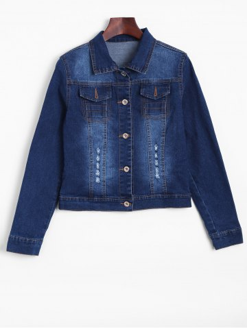 Distressed Faded Cropped Casual Denim Jacket - Denim Blue - M