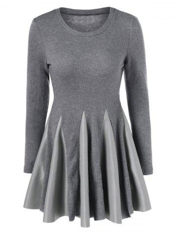Unique PU Leather Trim Pleated Knitted Dress