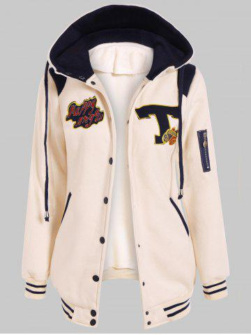 Fashion Button Up Hooded Patched Jacket