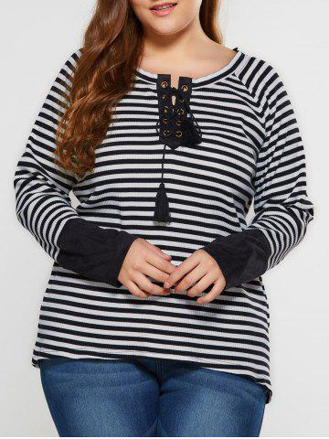 Outfits Plus Size Lace-Up Striped T-Shirt