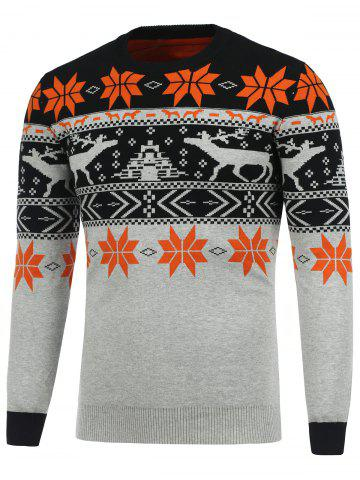 Sale Crew Neck Deerlet Snowflake Christmas Sweater