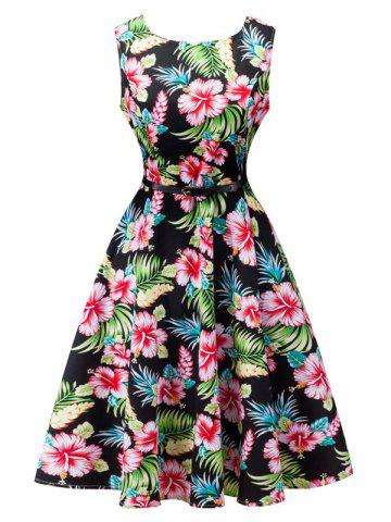 Unique Floral Print Sleeveless Retro Style Dress BLACK S