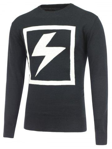 New Lightning Pattern Crew Neck Pullover Knitwear BLACK 2XL