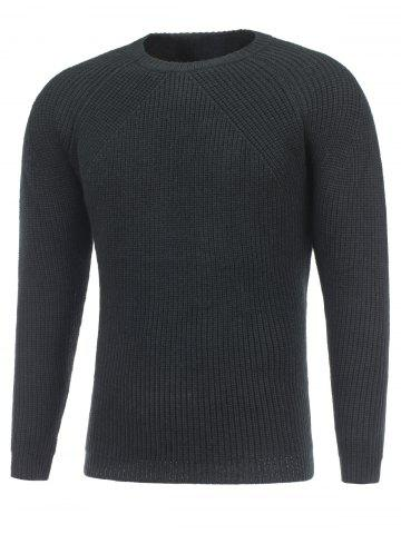 Fashion Crew Neck Raglan Sleeve Ribbed Knitted Sweater BLACK 2XL