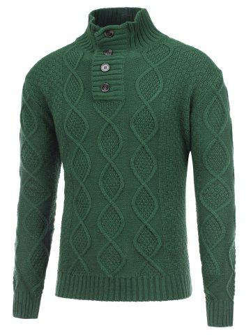 Trendy Fisherman Knitted Stand Collar Button Pullover Sweater GREEN 2XL