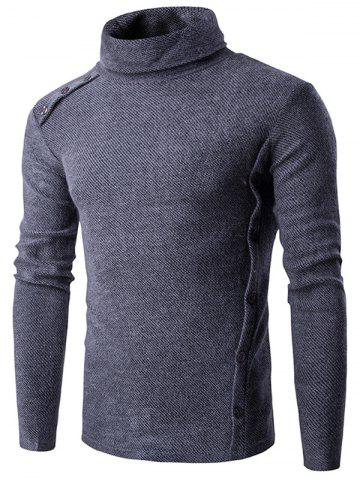 Asymmetric Adorn Button Turtleneck Sweater - Gray - M