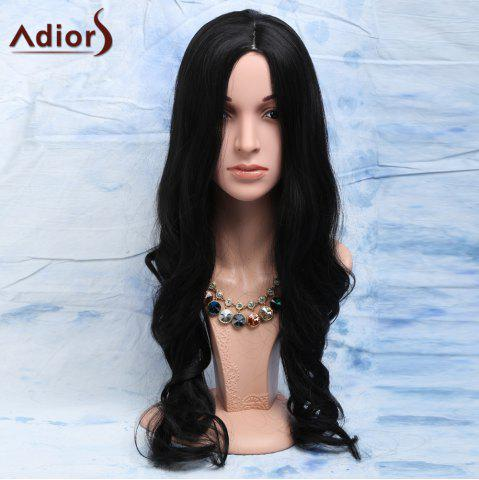 Outfits Elegant Natural Look Black Long Heat-Resistant Synthetic Wig For Women - BLACK  Mobile