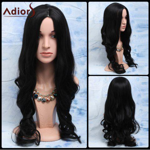 Discount Elegant Natural Look Black Long Heat-Resistant Synthetic Wig For Women