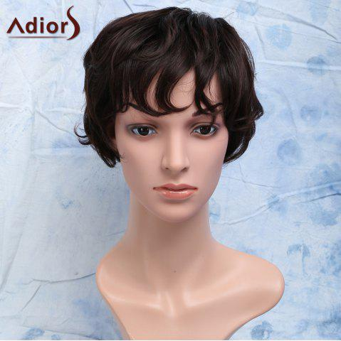 Chic Short Curly Heat Resistant Synthetic Side Bang Men's Wig - BROWN  Mobile