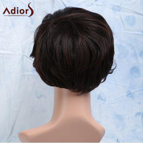 New Short Curly Heat Resistant Synthetic Side Bang Men's Wig - BROWN  Mobile