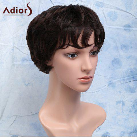 Discount Short Curly Heat Resistant Synthetic Side Bang Men's Wig - BROWN  Mobile