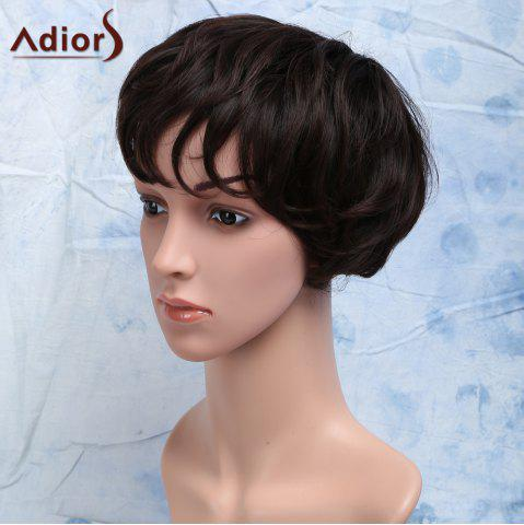 Outfits Short Curly Heat Resistant Synthetic Side Bang Men's Wig - BROWN  Mobile