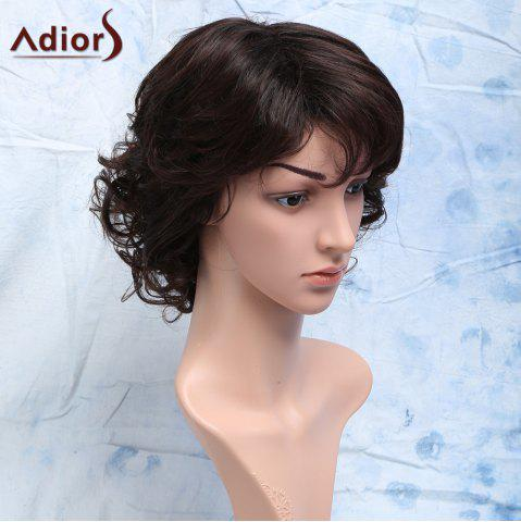 Outfit Curly Full Bang Short Heat Resistant Synthetic Men's Wig - DARK BROWN  Mobile