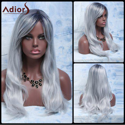 Best Attractive Long Gray Mixed Synthetic Fluffy Natural Wave Adiors Wig For Women COLORMIX
