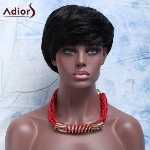 Hot Virile Women's  Short Capless Full Bang Human Hair Wig JET BLACK