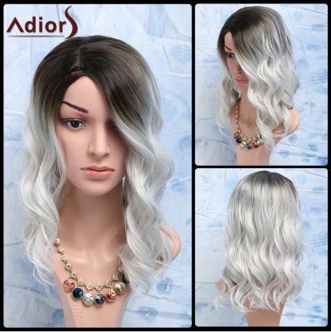Latest Black Mixed White Side Parting Medium Wavy Women's Fashion Synthetic Hair Wig