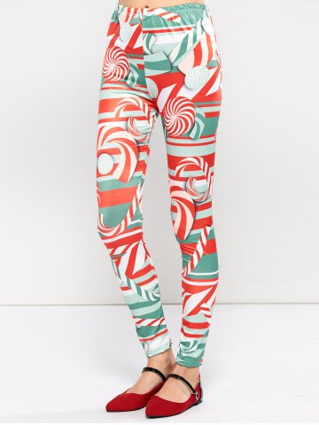 Best Christmas Lollipops Print Tight Leggings RED XL