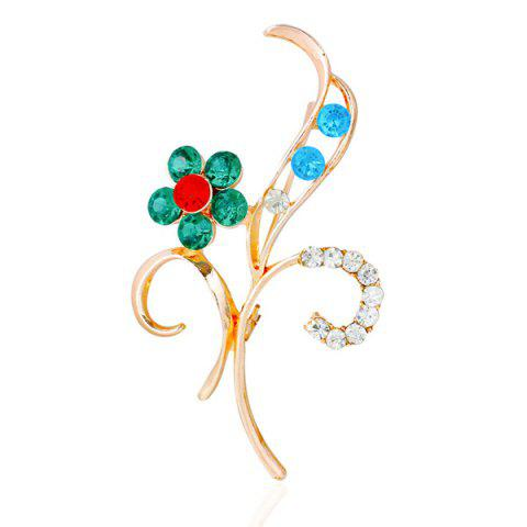 Hot Flower Leaf Rhinestone Brooch - GREEN  Mobile