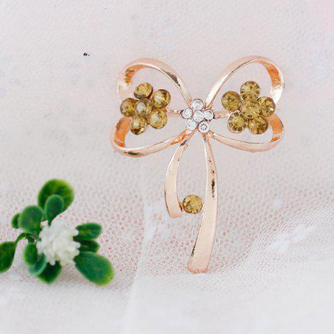 Unique Rhinestone Hollowed Bowknot Brooch - GOLDEN  Mobile