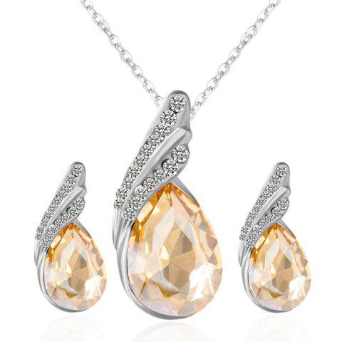 Unique Rhinestone Fake Crystal Teardrop Jewelry Set - GOLDEN  Mobile