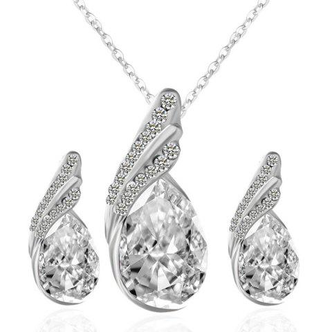 Rhinestone Fake Crystal Teardrop Jewelry Set - White