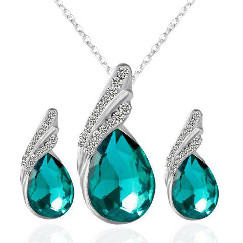 Discount Rhinestone Fake Crystal Teardrop Jewelry Set - GREEN  Mobile