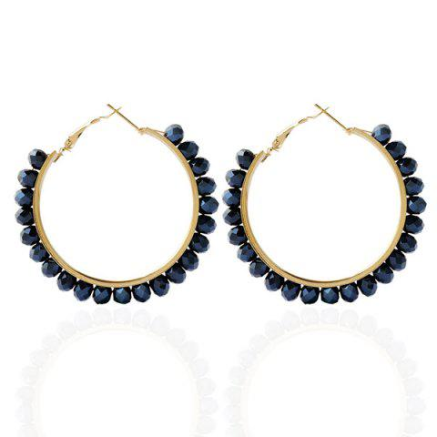 Online Fake Crystal Bead Hoop Earrings