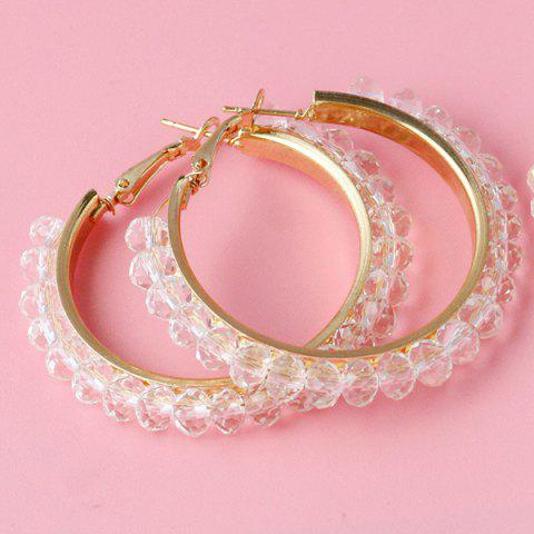 New Fake Crystal Bead Hoop Earrings