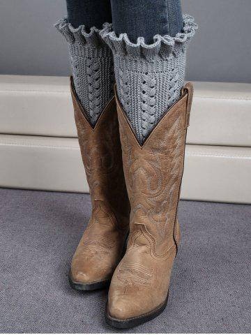 Winter Laciness Knit Boot Cuffs - Light Gray