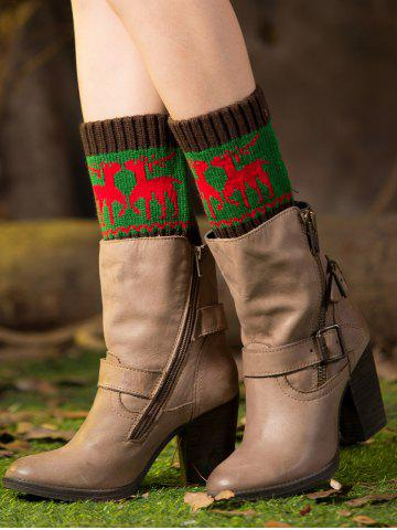 Sale Christmas Deer Jacquard Boot Cuffs