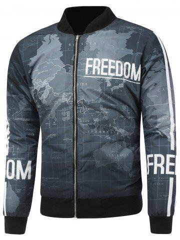 Unique Map Print Stand Collar Zip Up Padded Jacket