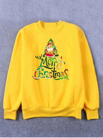 Affordable Printed Crew Neck Christmas Yellow Sweatshirt
