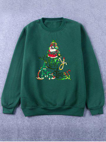 Shop Printed Crew Neck Christmas Green Sweatshirt
