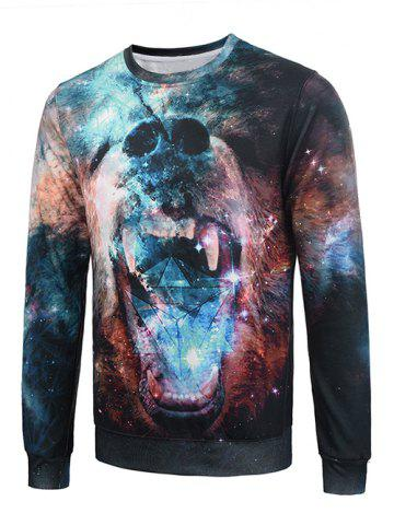 Fashion 3D Galaxy Bear Print Flocking Graphic Trippy Sweatshirt COLORMIX XL