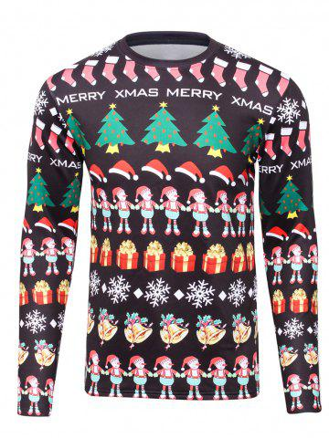 Discount 3D Christmas Cartoon Print Flocking Graphic Sweatshirts BLACK 4XL