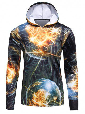 Unique 3D Fireworks Print Hooded Long Sleeve Flocking Trippy Hoodie