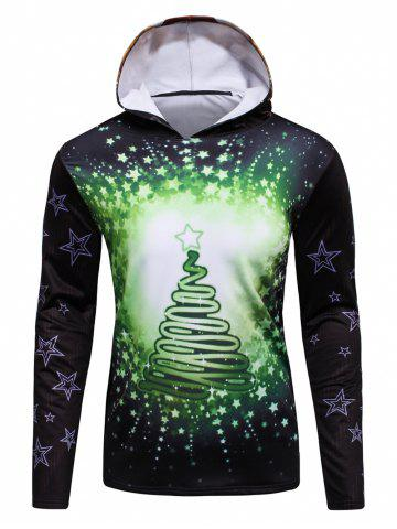 Unique 3D Christmas Tree and Stars Print Flocking Hoodie GREEN 4XL