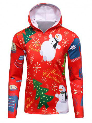 Shop 3D Christmas Tree and Snowman Print Flocking Hoodie RED 4XL