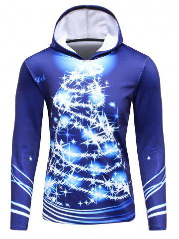 Trendy 3D Christmas Tree Print Flocking Hoodie BLUE 4XL