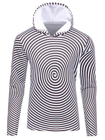 Fashion 3D Spiral Stripe Print Flocking Black and White Hoodie men WHITE/BLACK 2XL